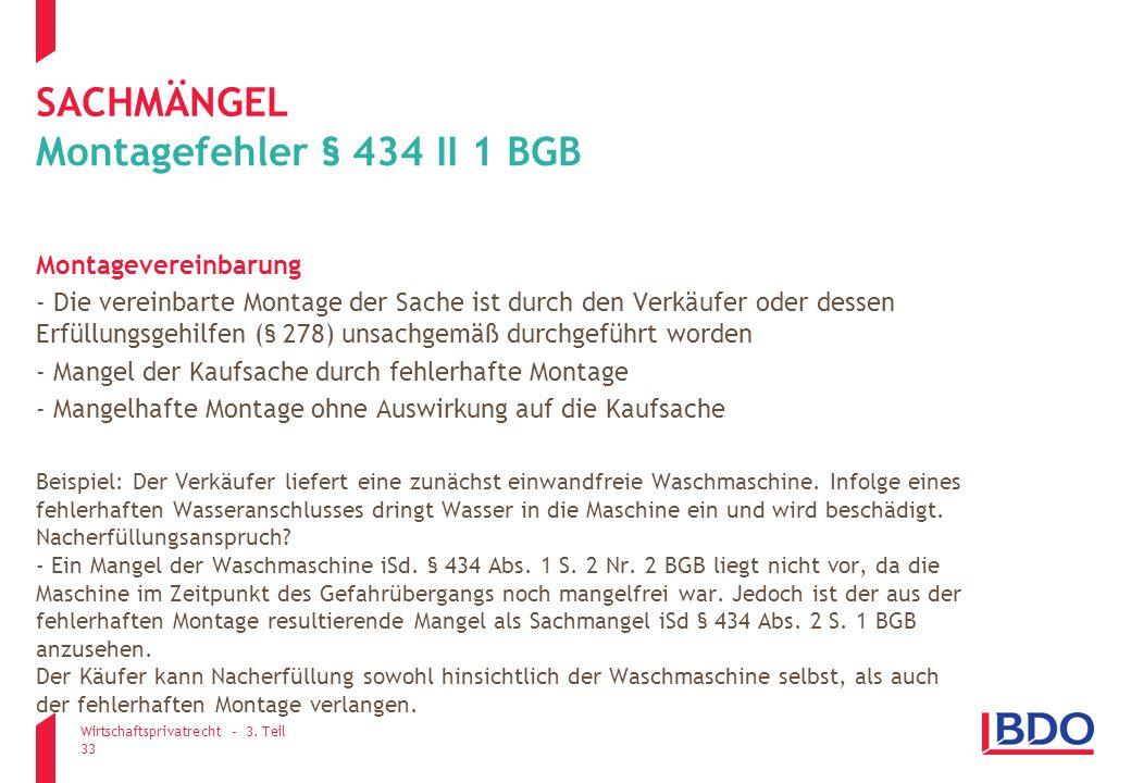sachmängel Montagefehler § 434 II 1 BGB Montagevereinbarung