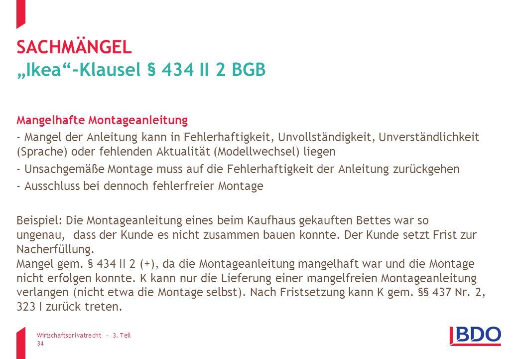 """""""Ikea -Klausel § 434 II 2 BGB"""