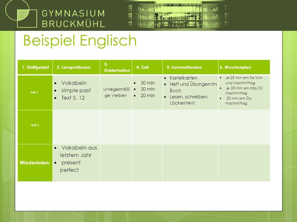 Beispiel Englisch Vokabeln simple past Text S. 12