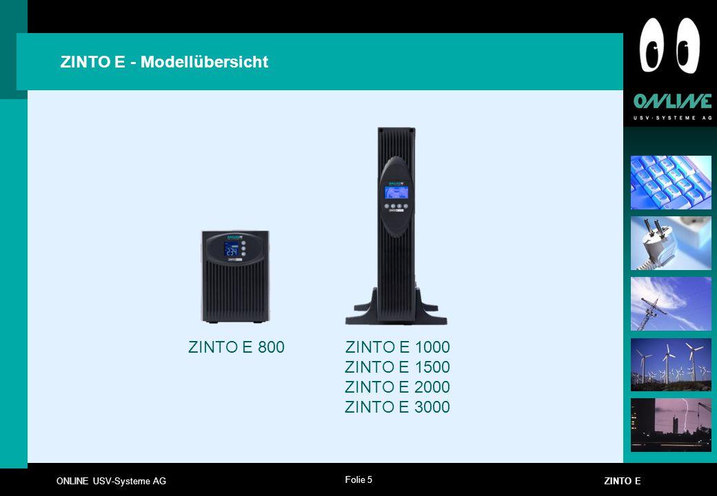ZINTO E - Modellübersicht