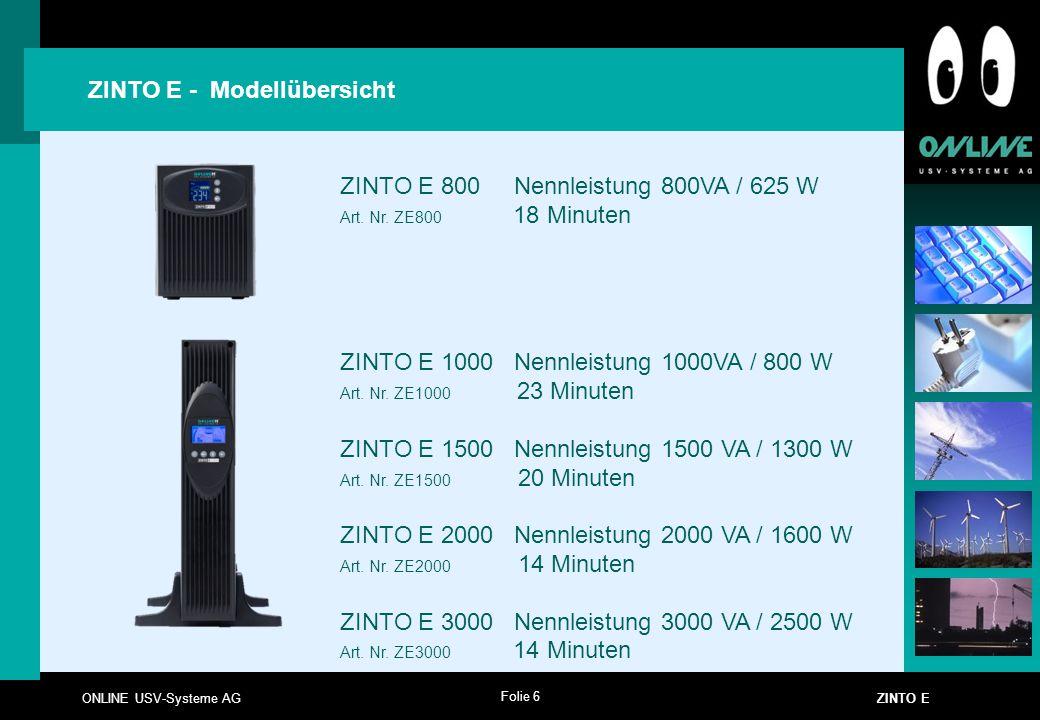 ZINTO E - Modellübersicht ZINTO E 800 Nennleistung 800VA / 625 W