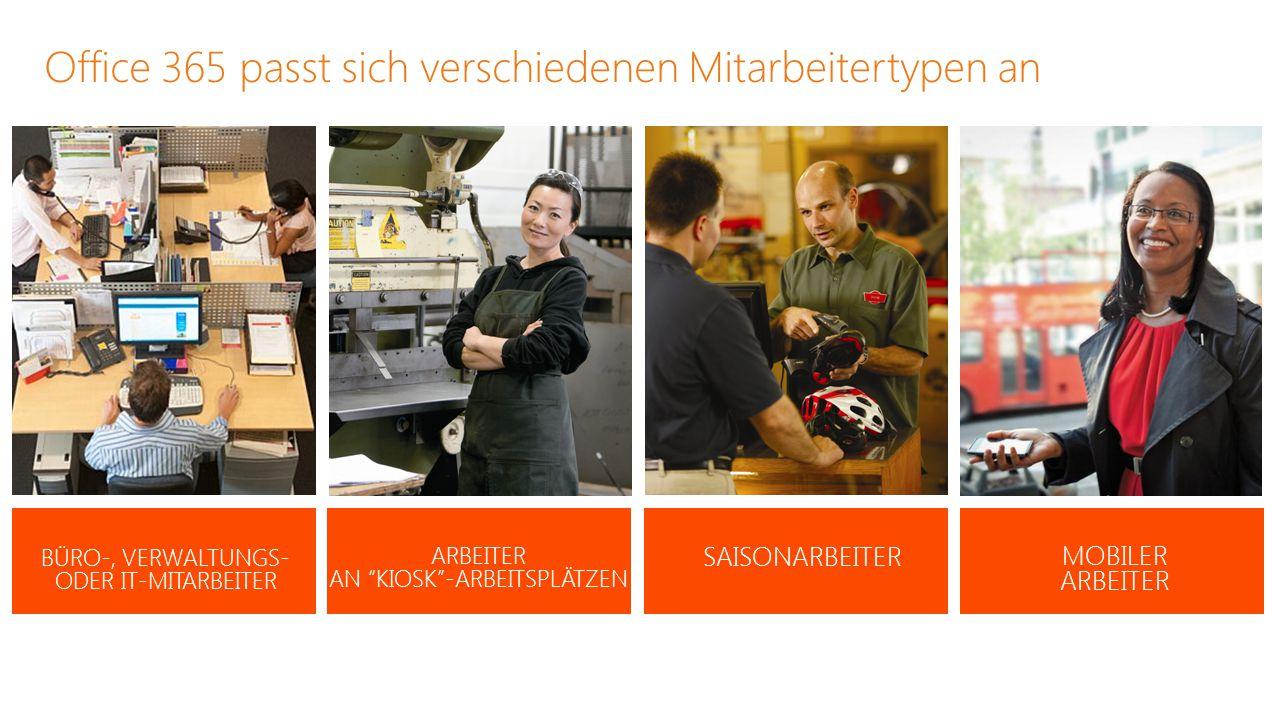 Office 365 passt sich verschiedenen Mitarbeitertypen an