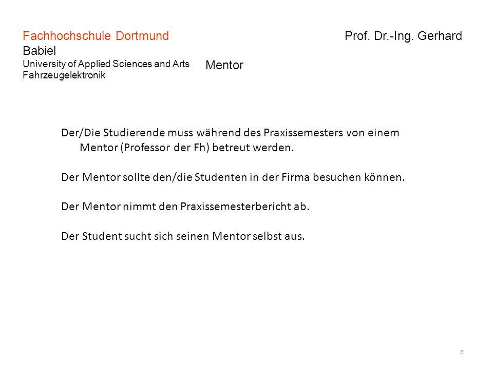 Fachhochschule Dortmund Prof. Dr.-Ing. Gerhard Babiel