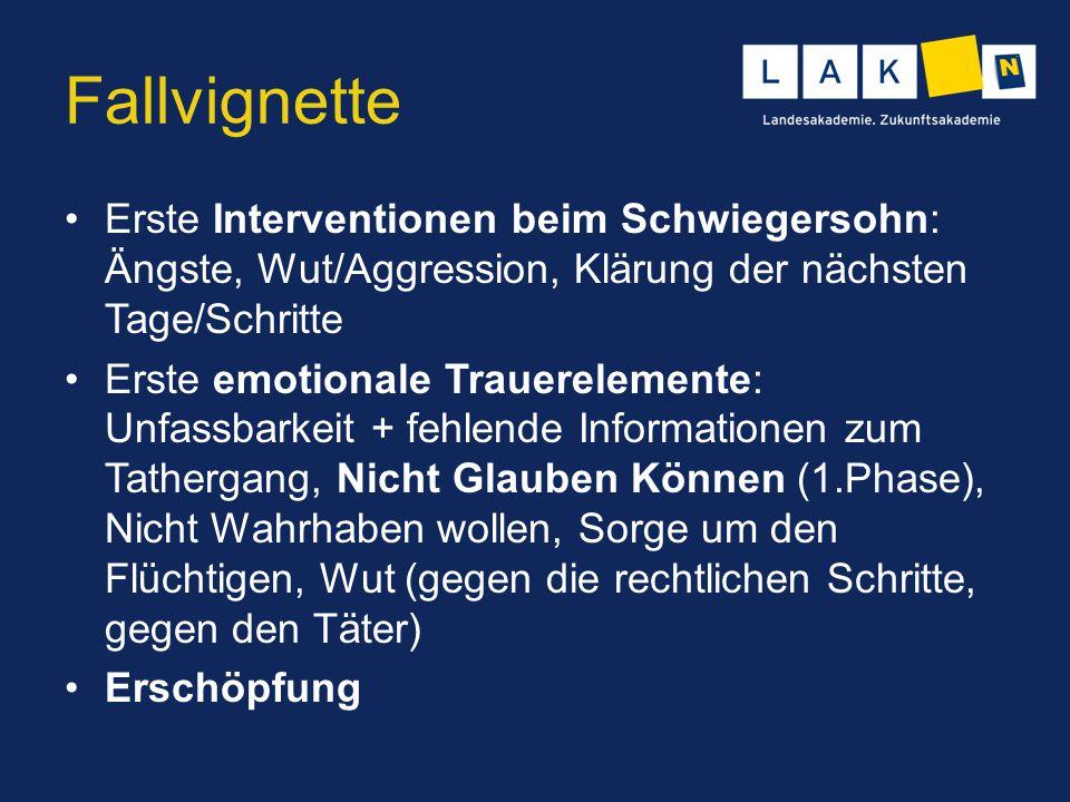 Fallvignette Erste Interventionen beim Schwiegersohn: Ängste, Wut/Aggression, Klärung der nächsten Tage/Schritte.