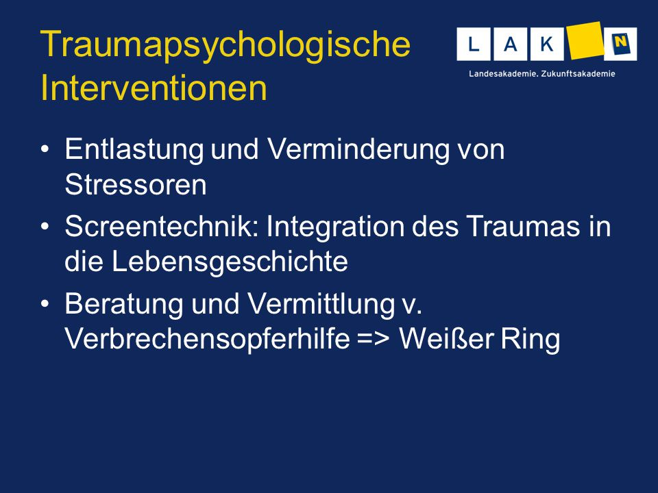 Traumapsychologische Interventionen