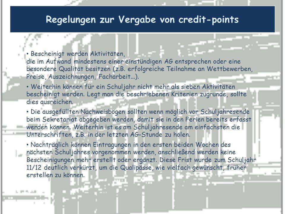 Regelungen zur Vergabe von credit-points