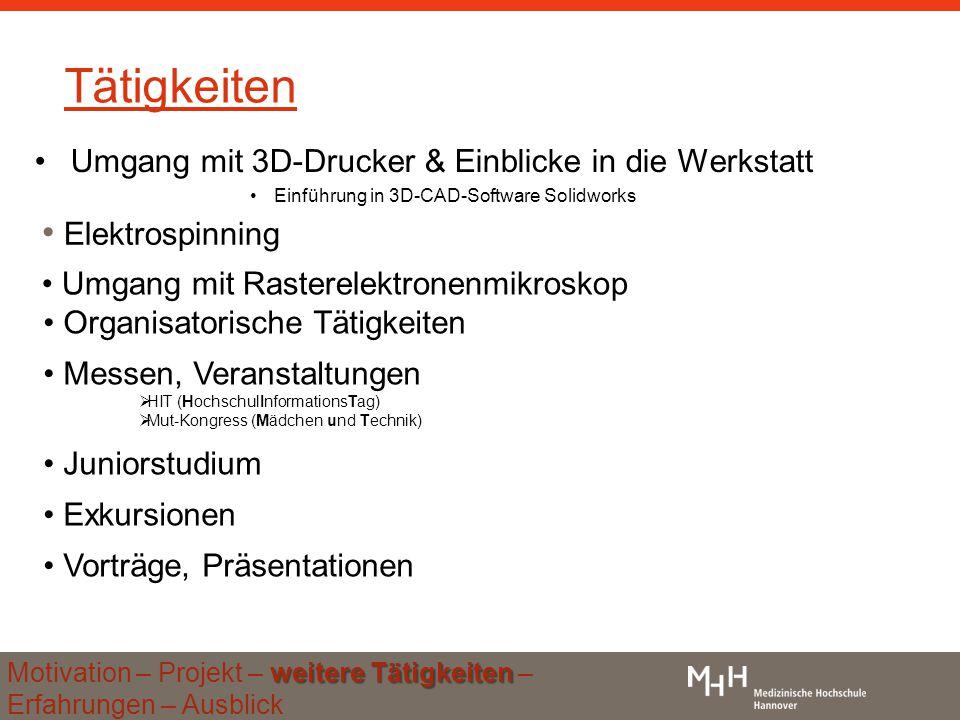 Tätigkeiten Umgang mit 3D-Drucker & Einblicke in die Werkstatt