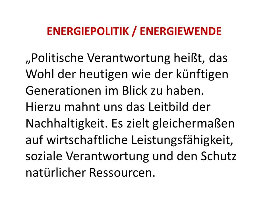 ENERGIEPOLITIK / ENERGIEWENDE