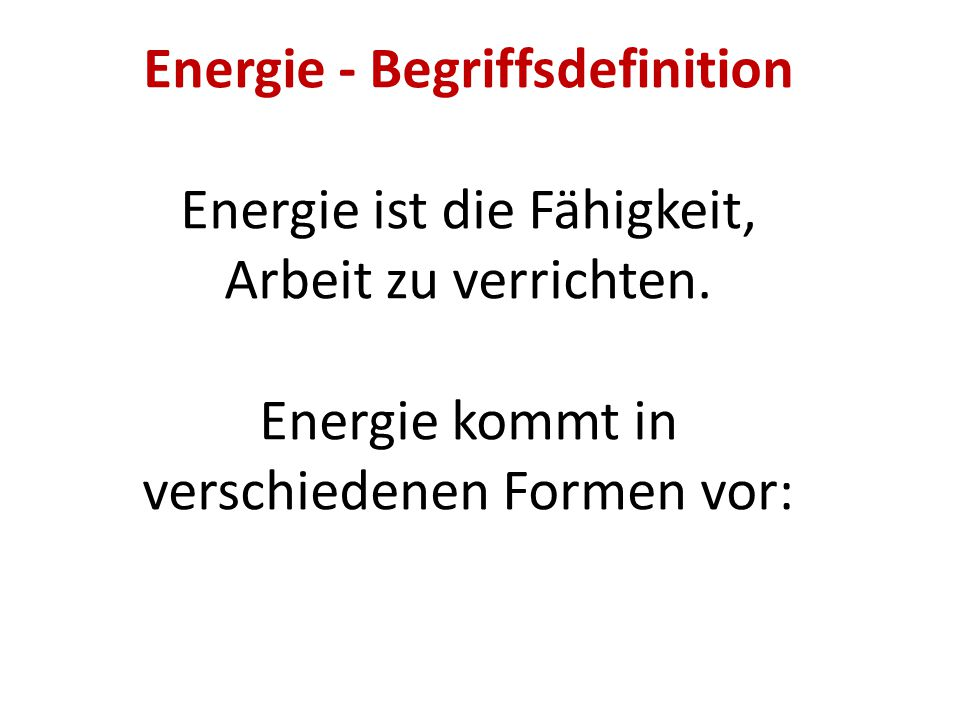 Energie - Begriffsdefinition