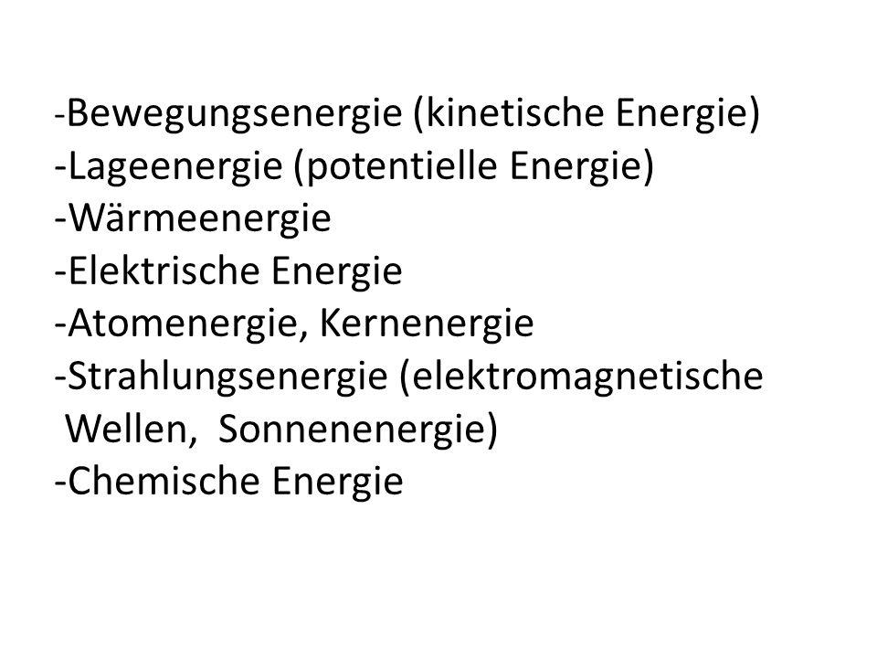-Lageenergie (potentielle Energie) -Wärmeenergie -Elektrische Energie