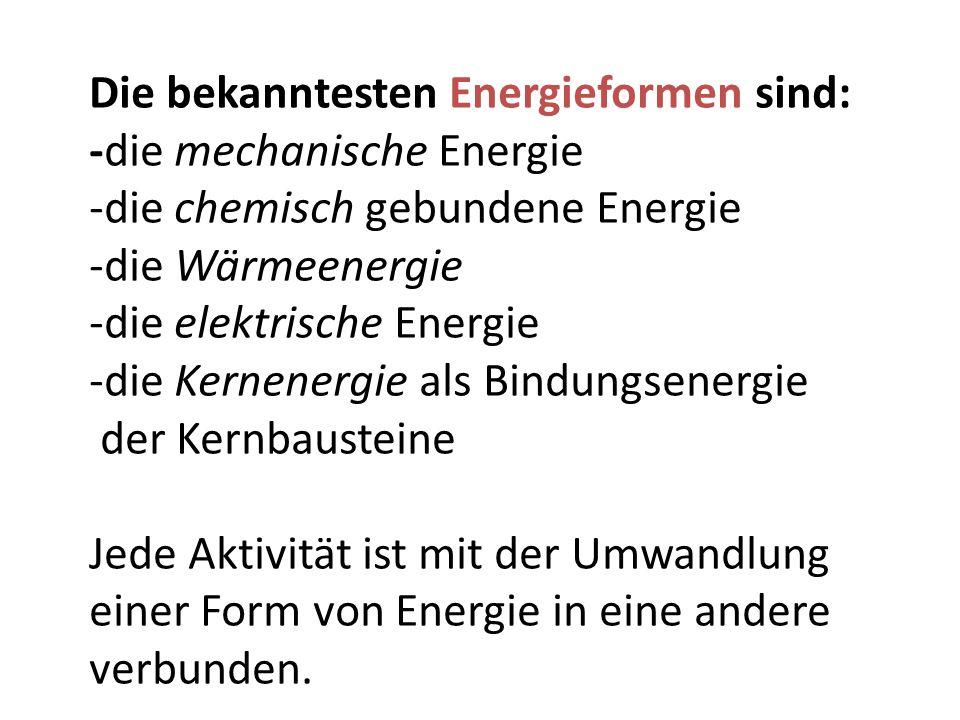 Die bekanntesten Energieformen sind: