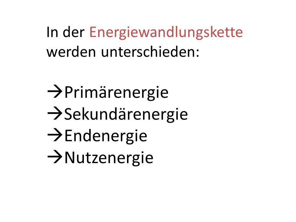 Primärenergie Sekundärenergie Endenergie Nutzenergie