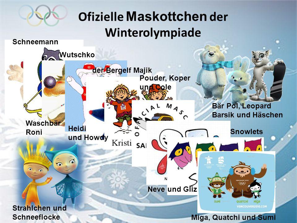 Ofizielle Maskottchen der Winterolympiade