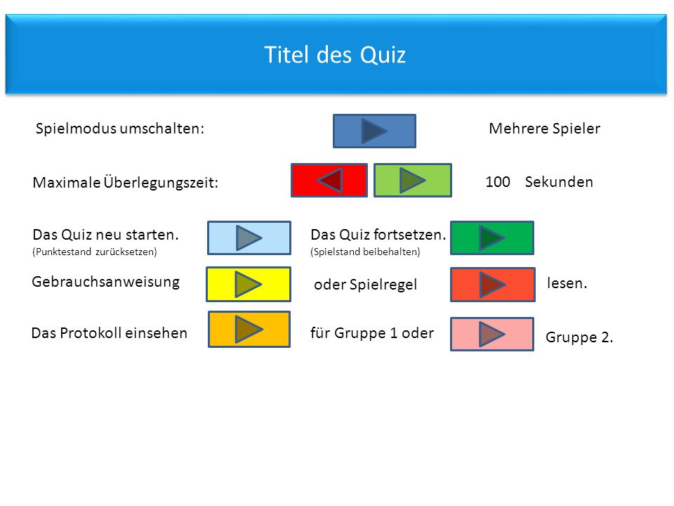 Titel des Quiz Spielmodus umschalten: Mehrere Spieler