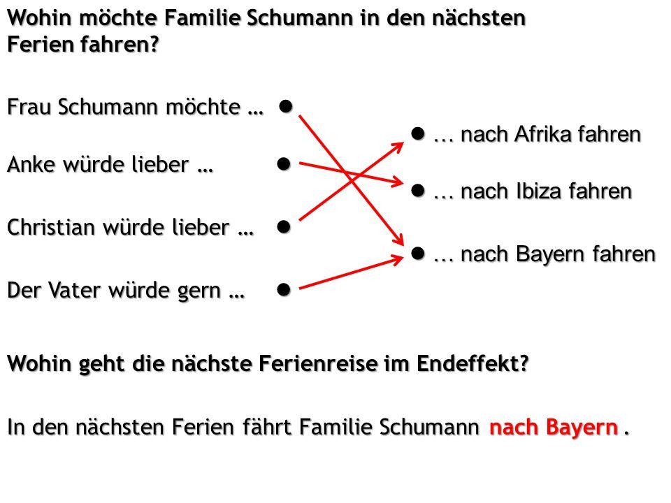 Wohin möchte Familie Schumann in den nächsten Ferien fahren