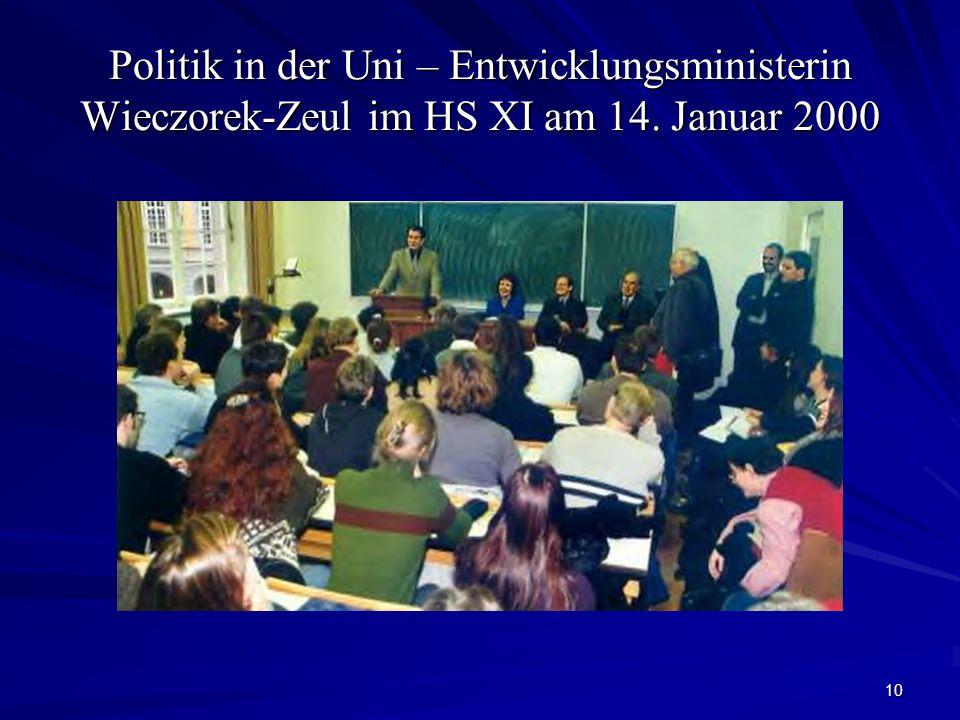 Politik in der Uni – Entwicklungsministerin Wieczorek-Zeul im HS XI am 14. Januar 2000