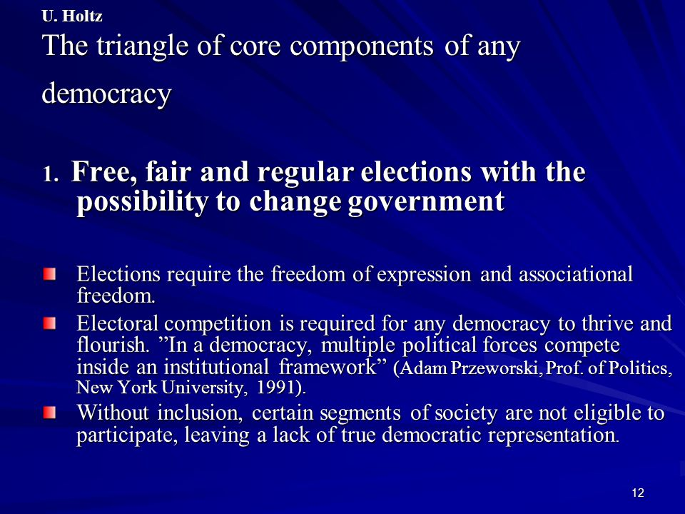 U. Holtz The triangle of core components of any democracy
