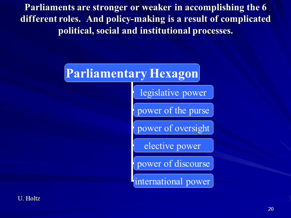 Parliaments are stronger or weaker in accomplishing the 6 different roles. And policy-making is a result of complicated political, social and institutional processes.