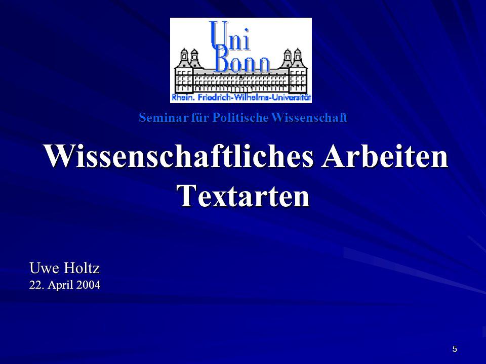 Textarten Wissenschaftliches Arbeiten Uwe Holtz