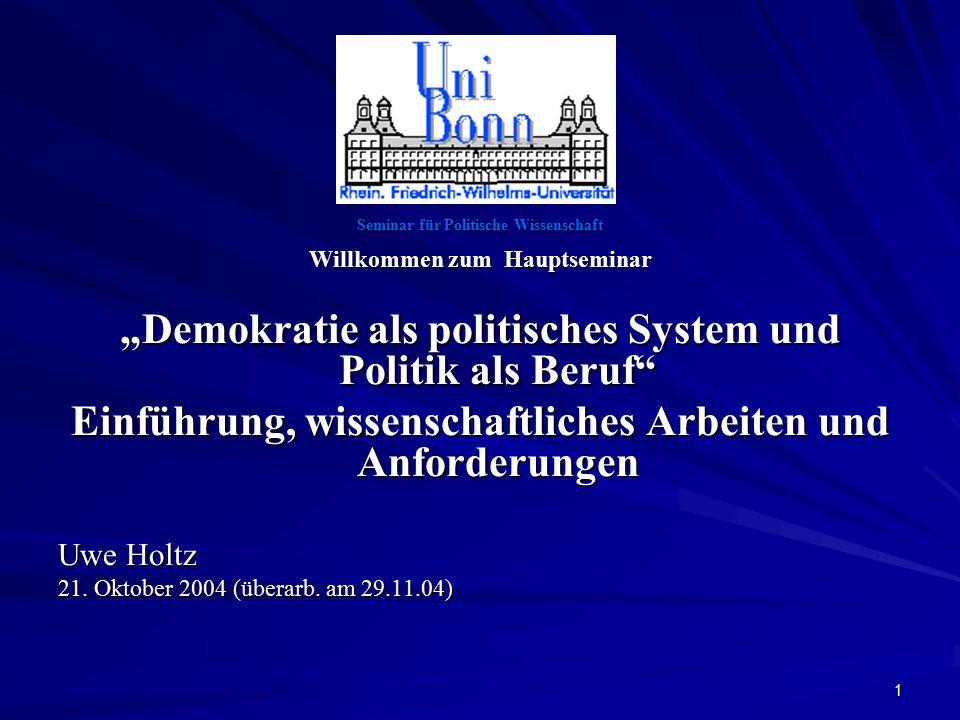"""""""Demokratie als politisches System und Politik als Beruf"""
