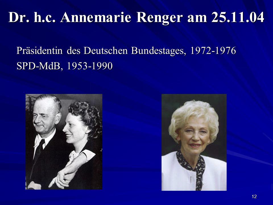 Dr. h.c. Annemarie Renger am 25.11.04