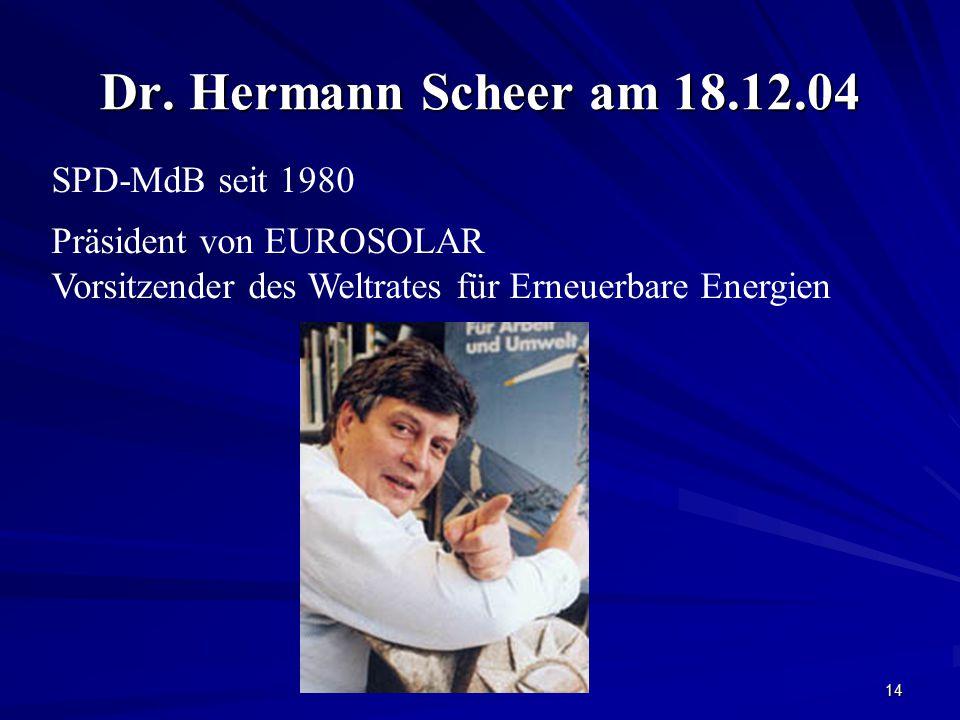 Dr. Hermann Scheer am 18.12.04 SPD-MdB seit 1980