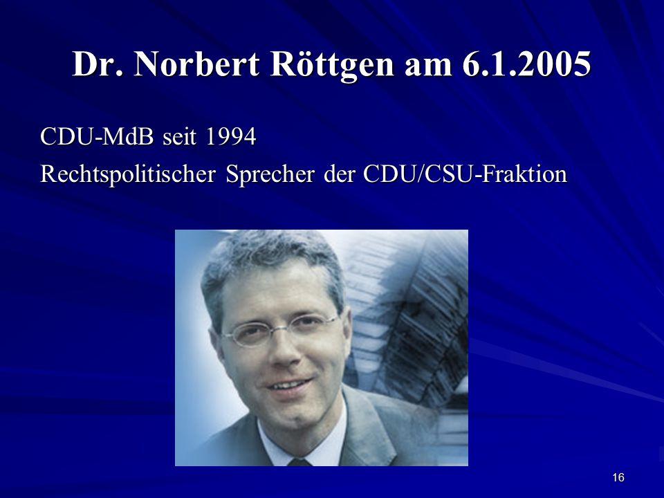 Dr. Norbert Röttgen am 6.1.2005 CDU-MdB seit 1994
