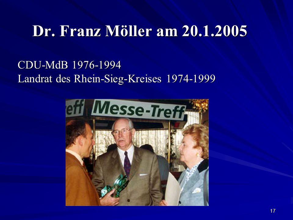 Dr. Franz Möller am 20.1.2005 CDU-MdB 1976-1994 Landrat des Rhein-Sieg-Kreises 1974-1999