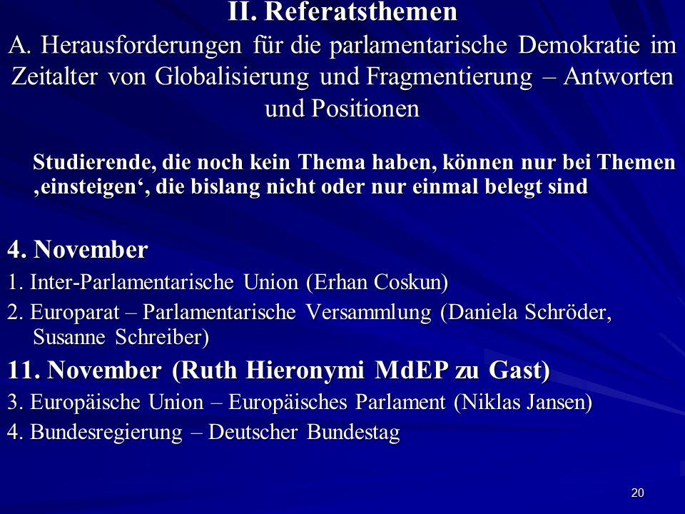11. November (Ruth Hieronymi MdEP zu Gast)