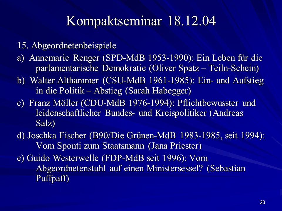 Kompaktseminar 18.12.04 15. Abgeordnetenbeispiele