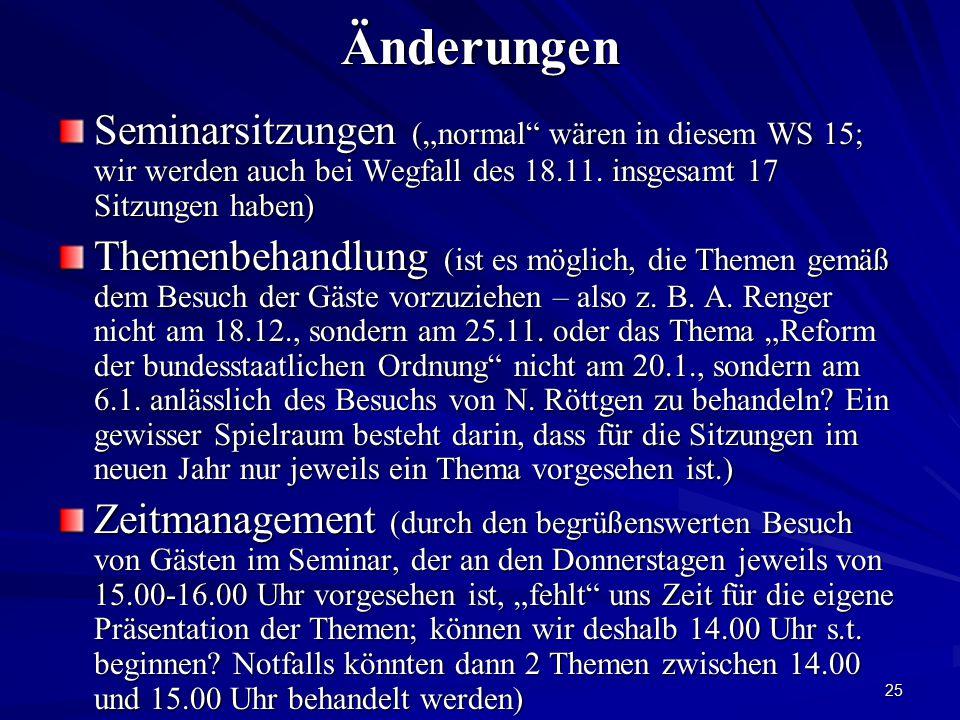 """Änderungen Seminarsitzungen (""""normal wären in diesem WS 15; wir werden auch bei Wegfall des 18.11. insgesamt 17 Sitzungen haben)"""