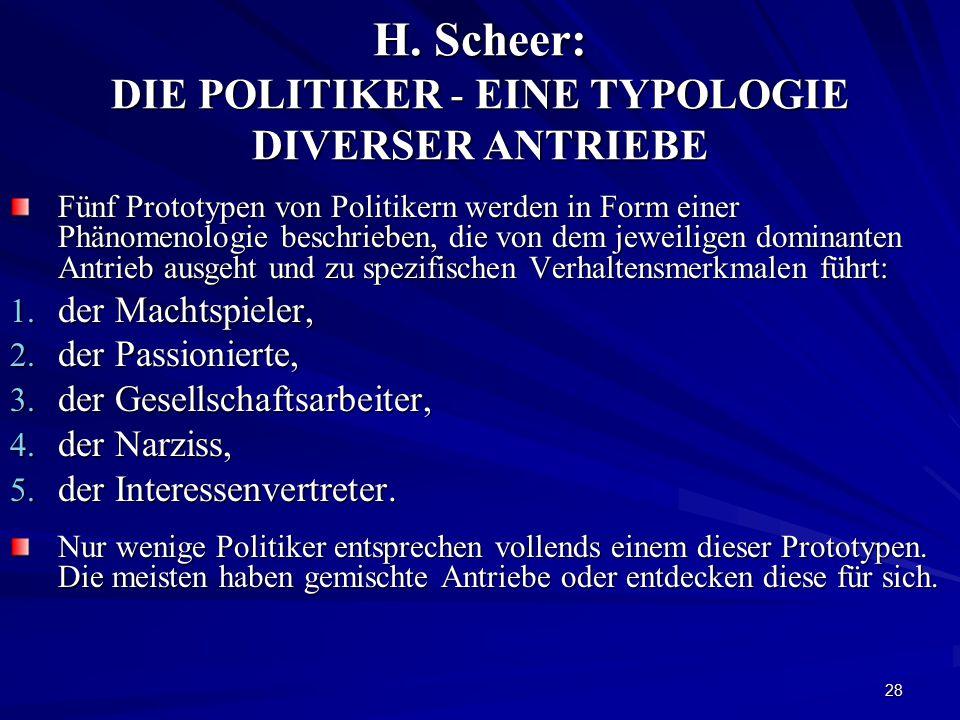 H. Scheer: DIE POLITIKER - EINE TYPOLOGIE DIVERSER ANTRIEBE
