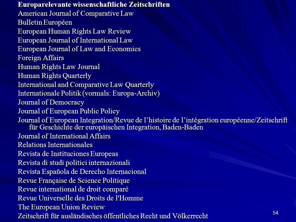 Europarelevante wissenschaftliche Zeitschriften