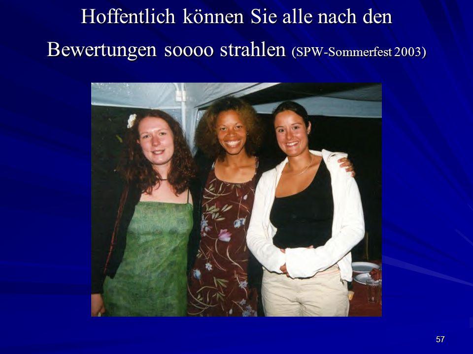 Hoffentlich können Sie alle nach den Bewertungen soooo strahlen (SPW-Sommerfest 2003)
