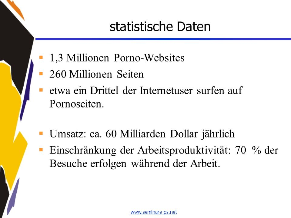 statistische Daten 1,3 Millionen Porno-Websites 260 Millionen Seiten