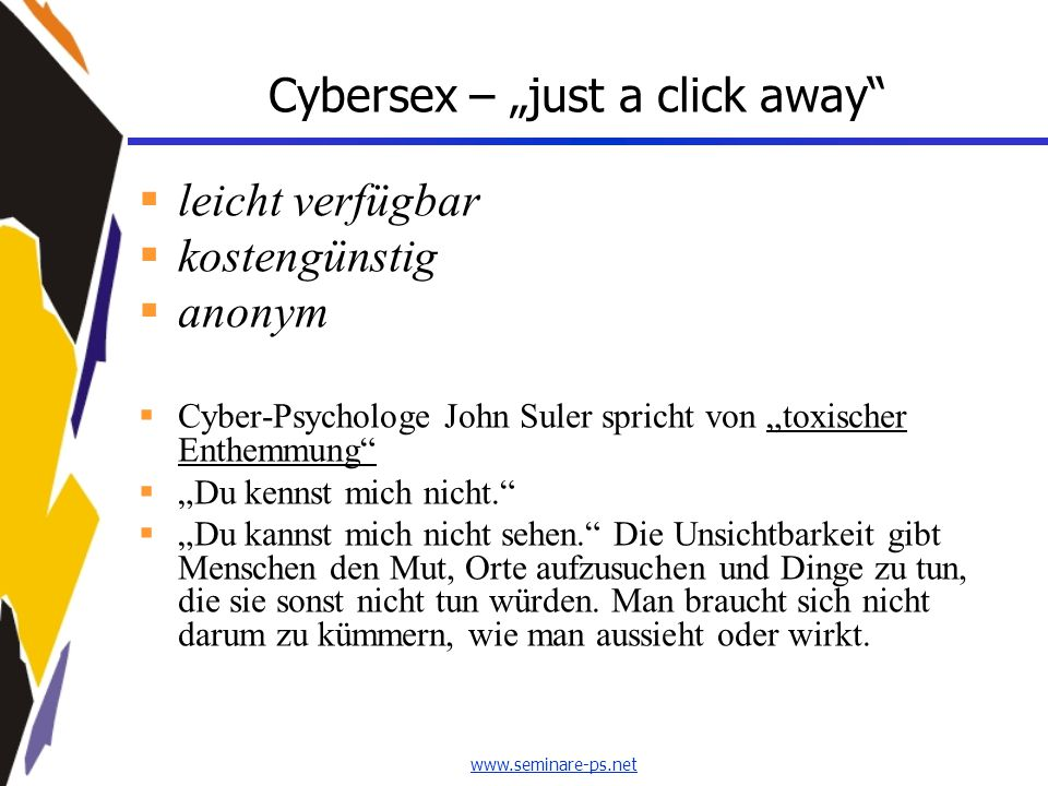 "Cybersex – ""just a click away"