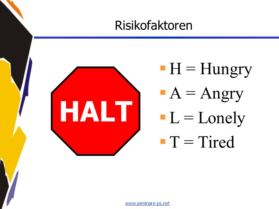 Risikofaktoren H = Hungry A = Angry L = Lonely T = Tired HALT