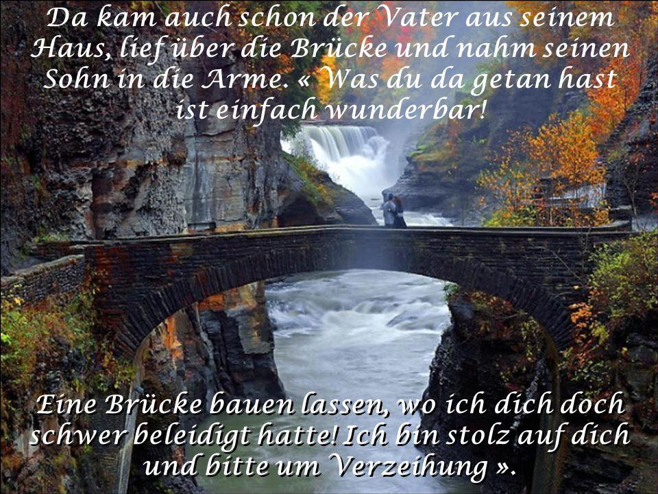 Da kam auch schon der Vater aus seinem Haus, lief über die Brücke und nahm seinen Sohn in die Arme. « Was du da getan hast ist einfach wunderbar!