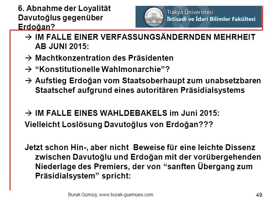 6. Abnahme der Loyalität Davutoğlus gegenüber Erdoğan