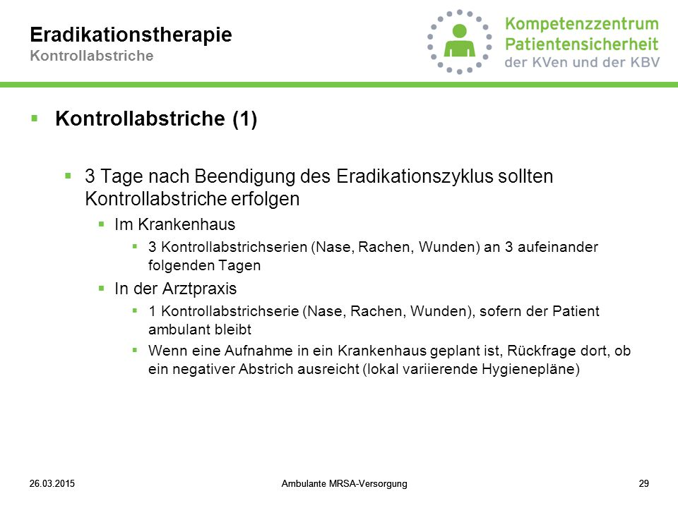 Eradikationstherapie Kontrollabstriche