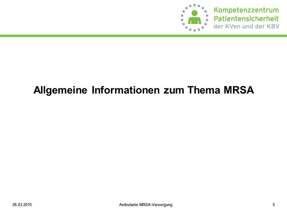 Allgemeine Informationen zum Thema MRSA