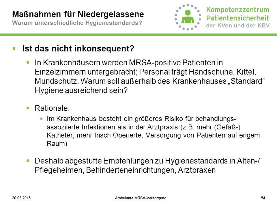 Maßnahmen für Niedergelassene Warum unterschiedliche Hygienestandards