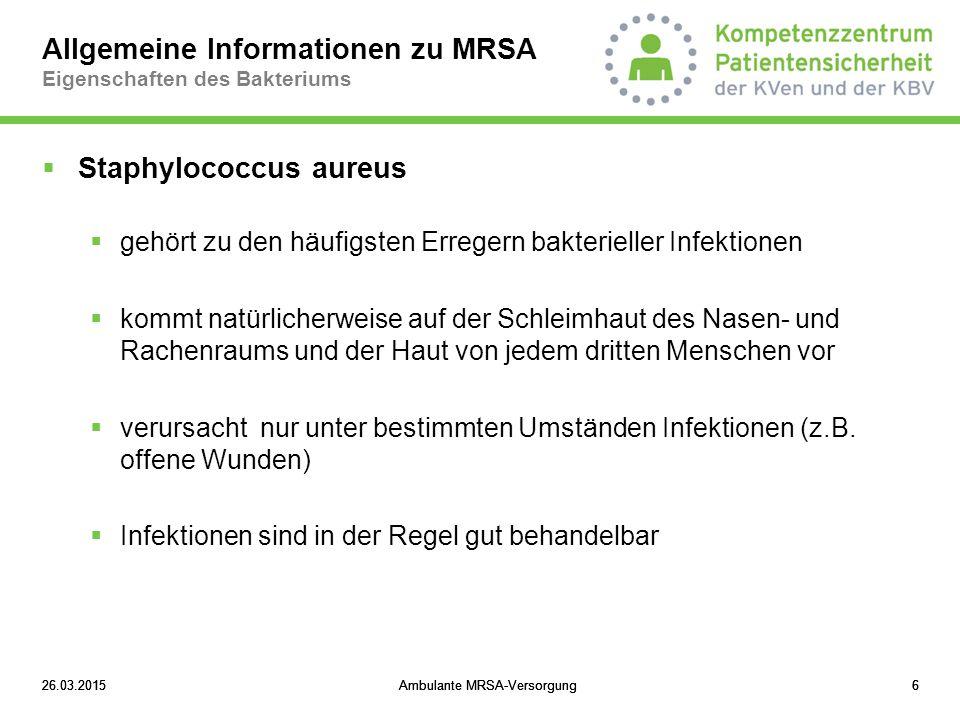 Allgemeine Informationen zu MRSA Eigenschaften des Bakteriums