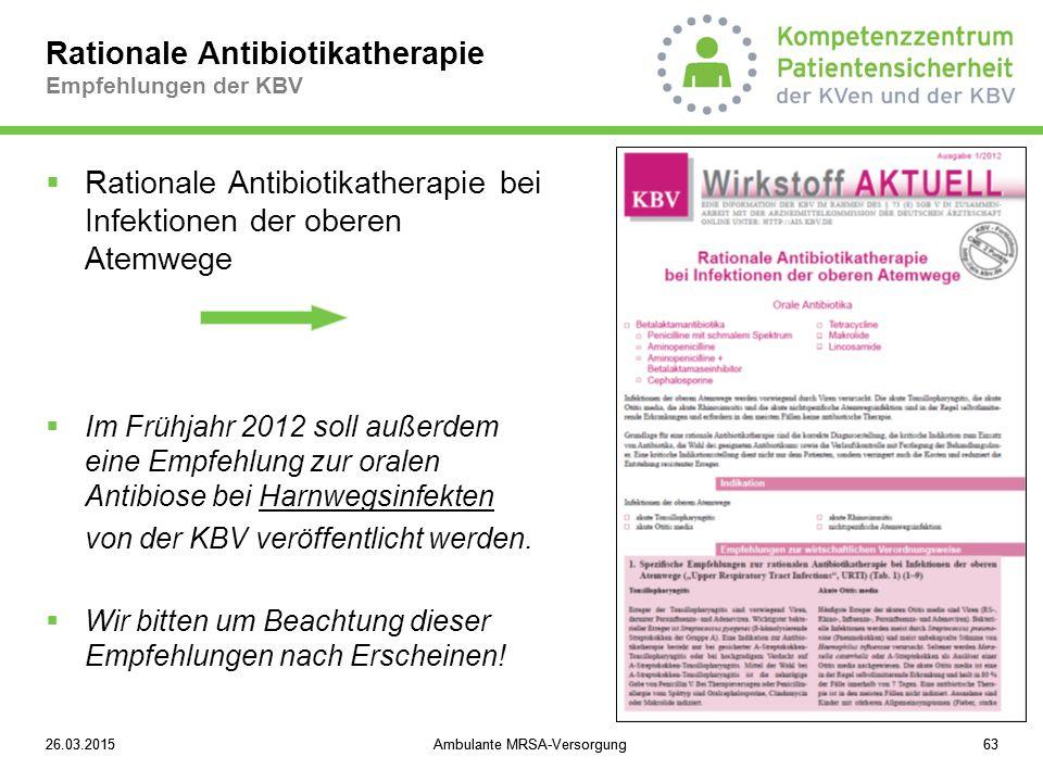 Rationale Antibiotikatherapie Empfehlungen der KBV