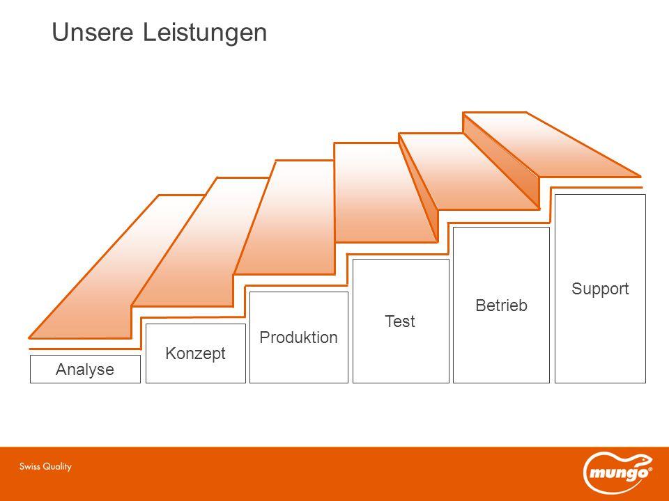 Unsere Leistungen Support Betrieb Test Produktion Konzept Analyse