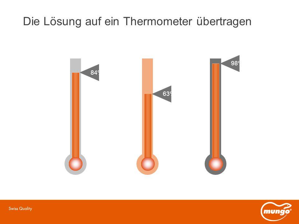 Die Lösung auf ein Thermometer übertragen