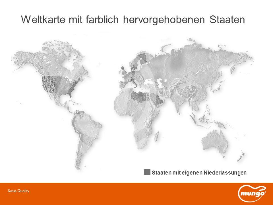 Weltkarte mit farblich hervorgehobenen Staaten