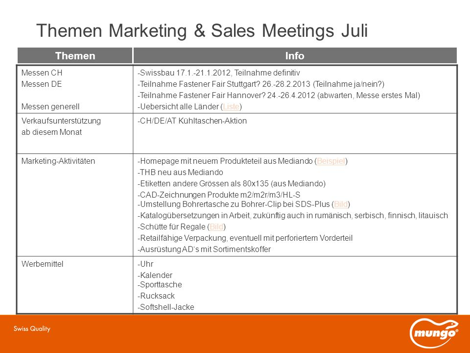 Themen Marketing & Sales Meetings Juli