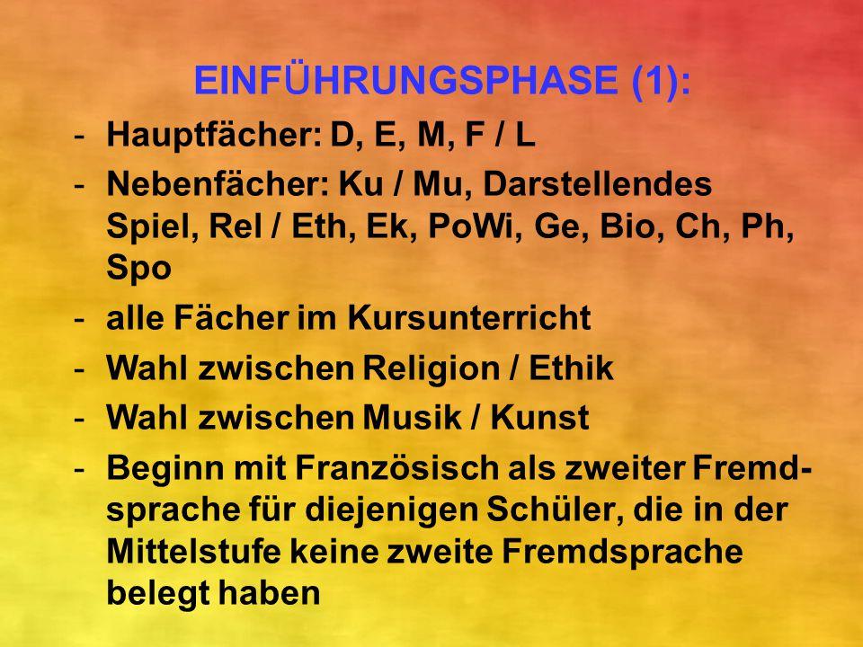 EINFÜHRUNGSPHASE (1): Hauptfächer: D, E, M, F / L