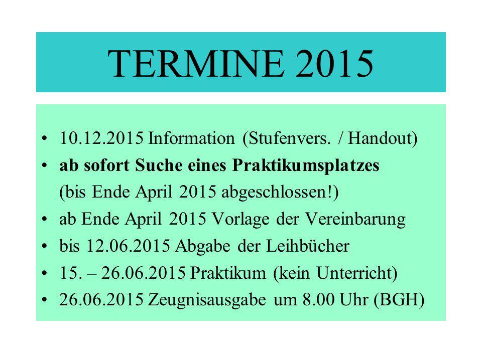TERMINE 2015 10.12.2015 Information (Stufenvers. / Handout)